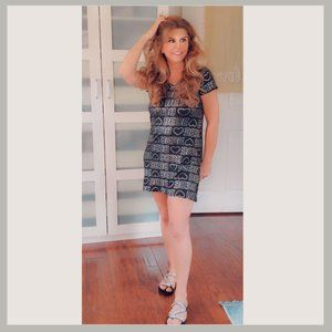 Bebe Silver & Black Dress with Sandals